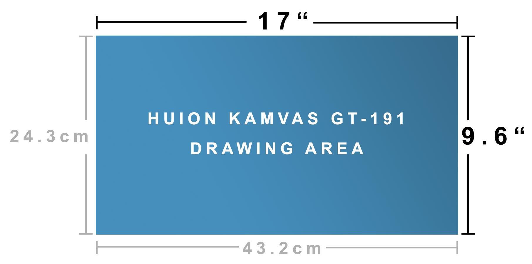 Huion KAMVAS GT-191 screen size measurement