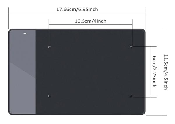 Huion 420 drawing area size