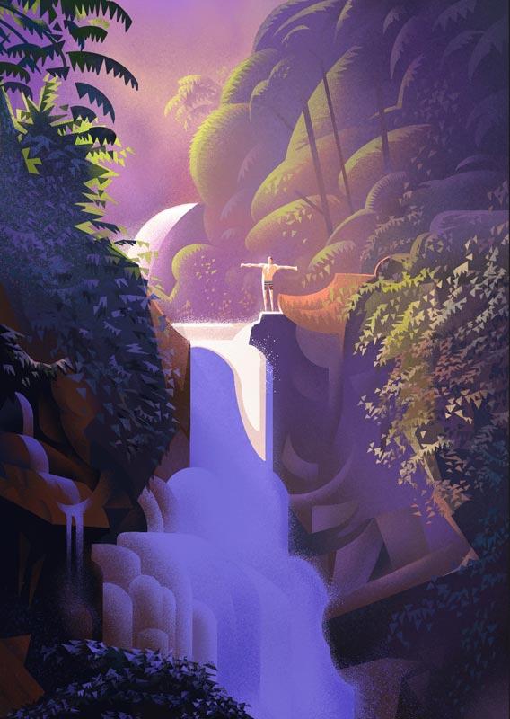 iPad Pro Procreate waterfall illustration