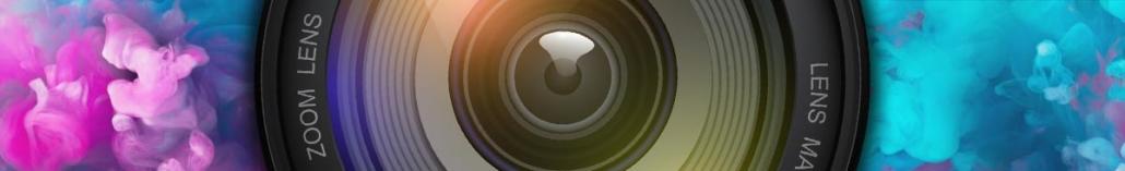 Camera lens against colorful liquid horizontal