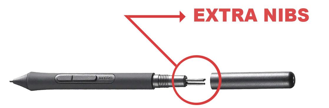 Wacom pen extra nibs location