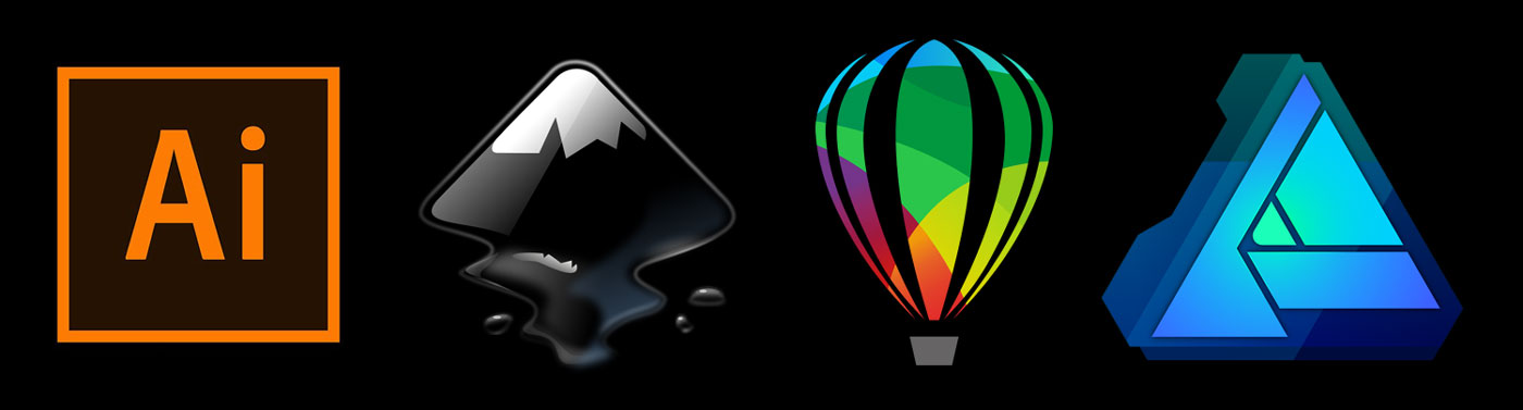 Adobe Illustrator, Inkscape, Corel Draw and Affinity Designer logos