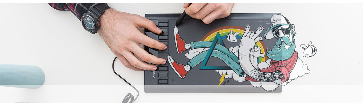 Man drawing on an X-PEN Star03 V2 graphics tablet