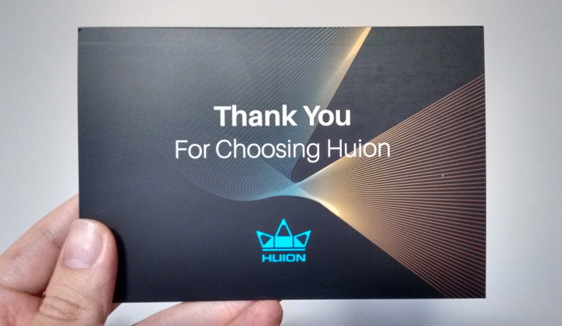 Huion Thank You card.