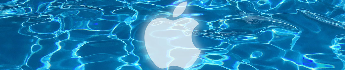 Apple white logo under water