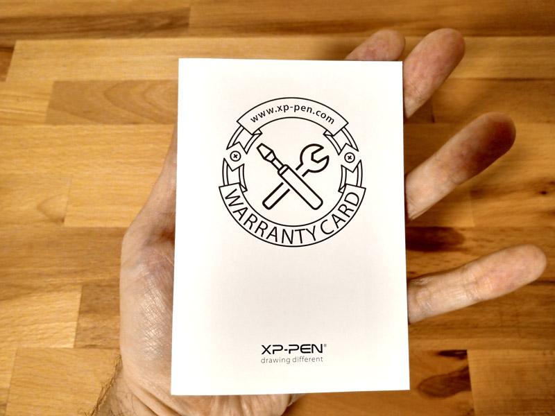 Artist 12 Pro Warranty Card