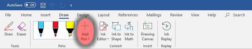 Microsoft Word Pen Options