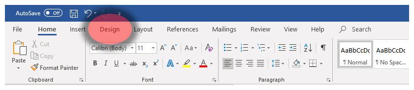 Microsoft Word Design Tab