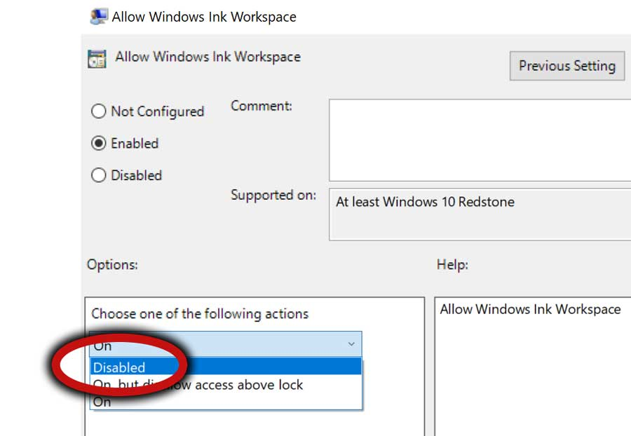 Disable Windows Ink Workspace