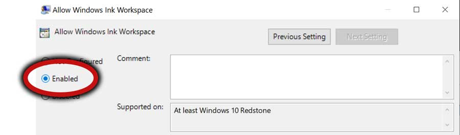 Windows Ink Workspace enabled option