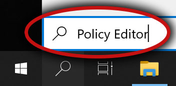 Policy editor typed on the search box