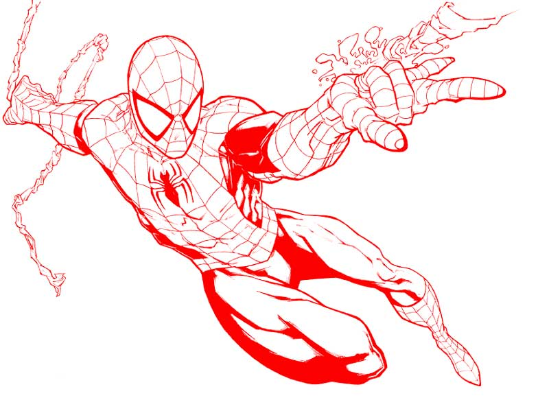 Spider-Man traced over in red